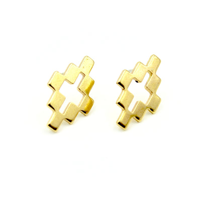 Checkered Geo Earrings - Brass
