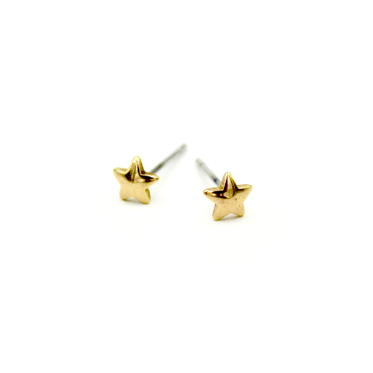 Tiny Star Earrings - Brass