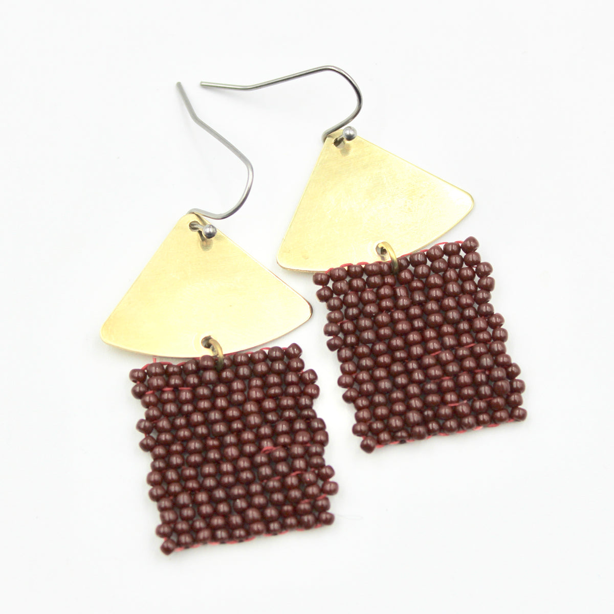 Delia Earrings - Woven Seed Beads