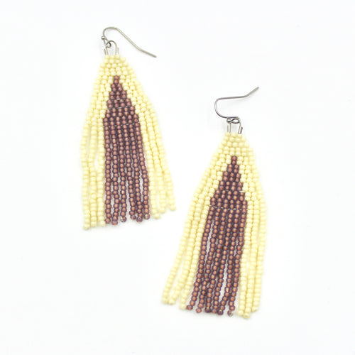 Amethyst Falls Earrings - Woven Seed Beads