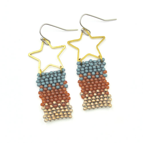 Allison Earrings - Woven Seed Beads