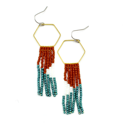 Audrey Earrings - Woven Seed Beads
