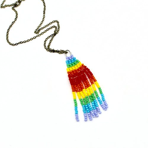 Rainbow Stripes Necklace - Woven Seed Beads