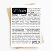 """Get Busy Manifesto"" Motivational Greeting Card"