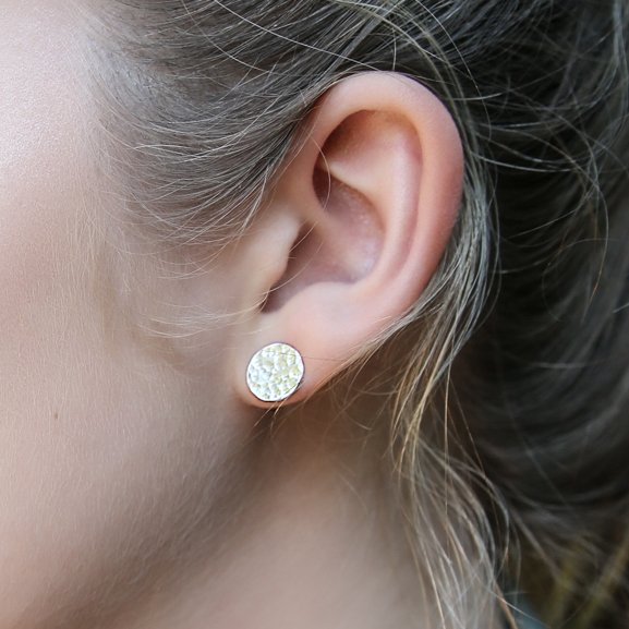 hammered disc studs - sterling silver