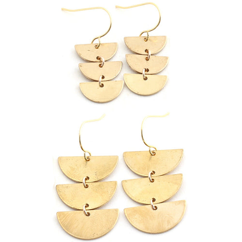 Harvest -- triple half circle earrings