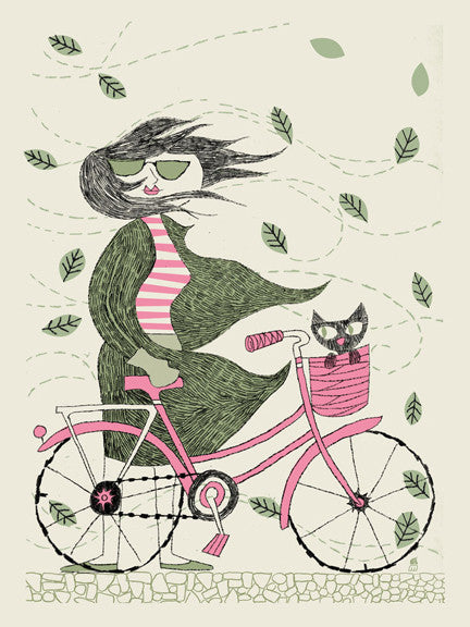 Fall Hipster Bike Girl