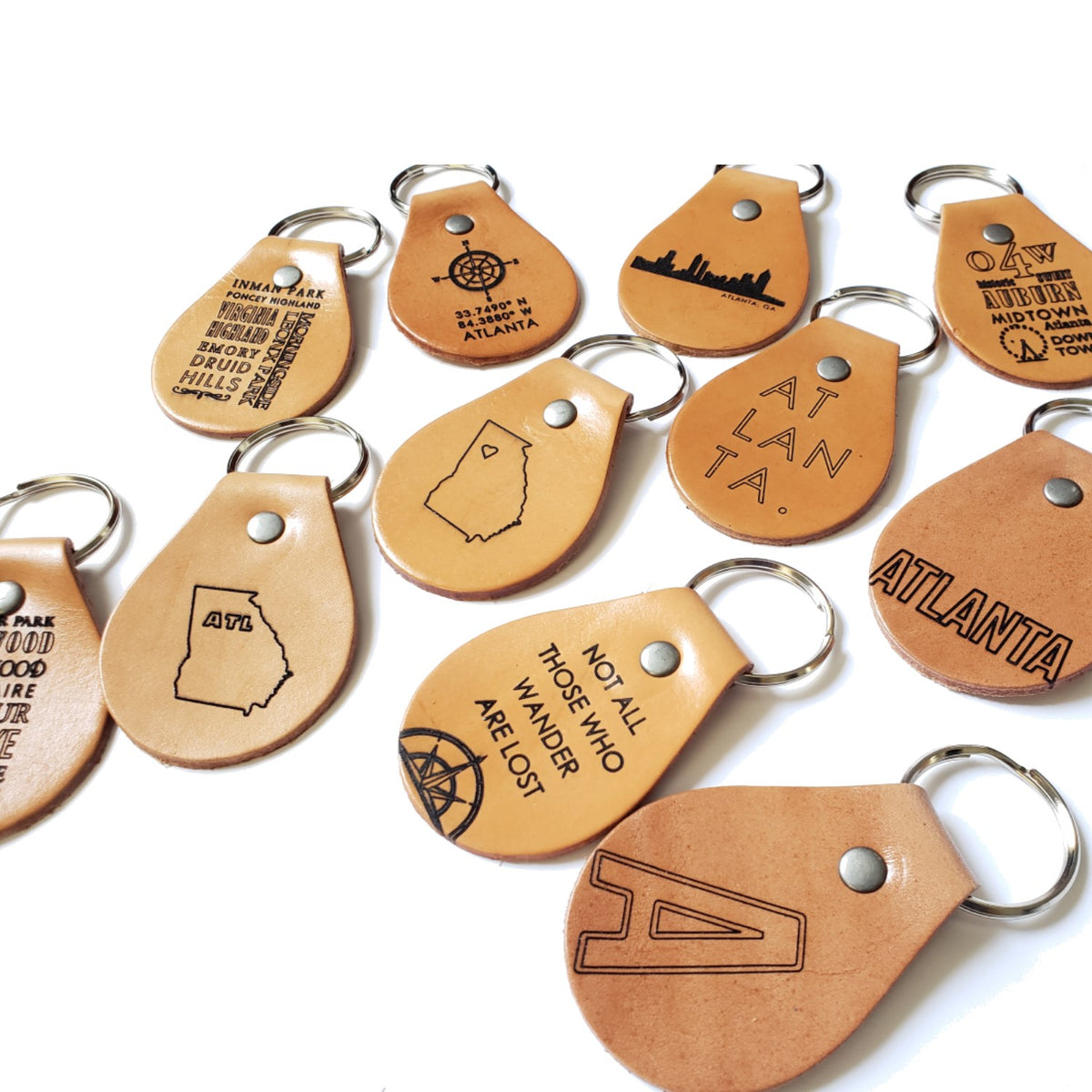 Engraved Leather Keychain