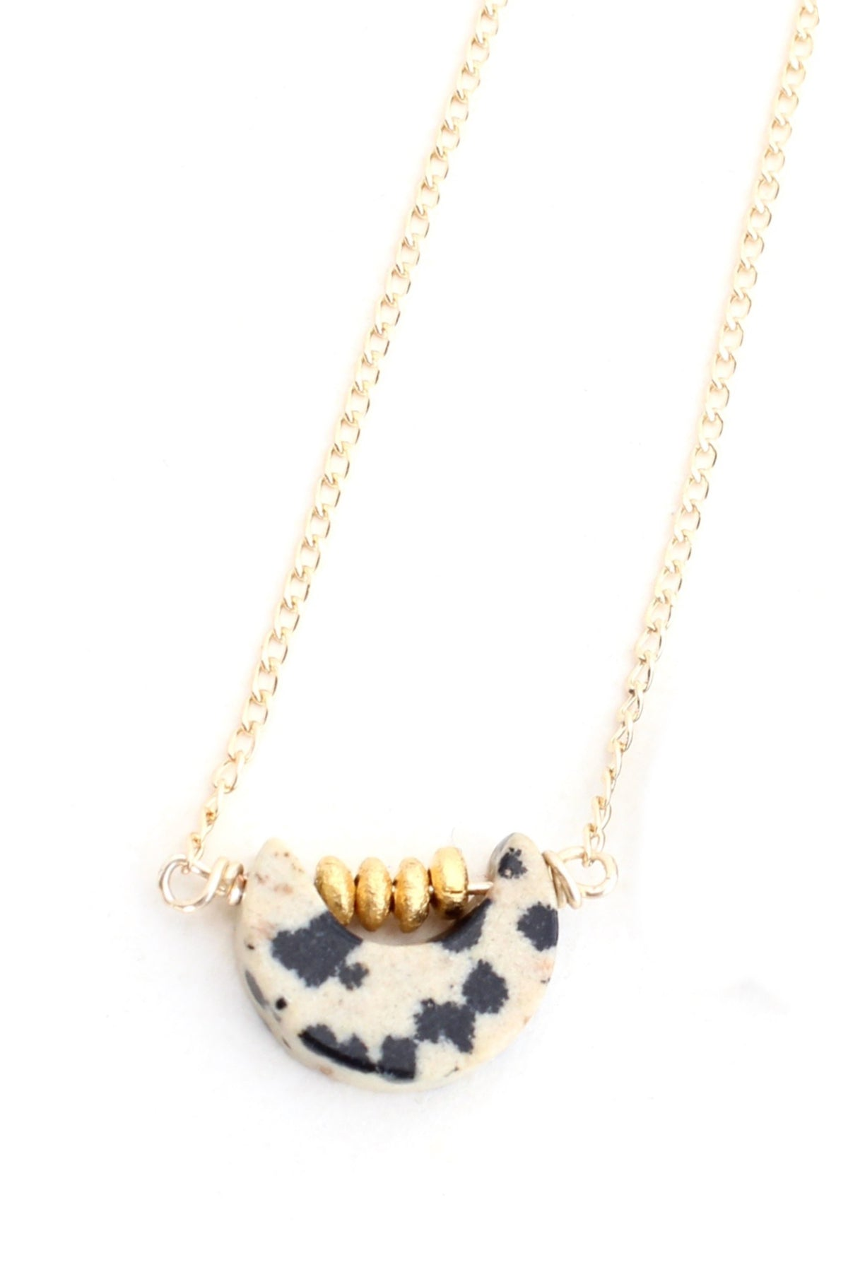 Petite Moon Gem - dalmatian jasper moon necklace