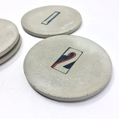 Number Series Concrete Coasters