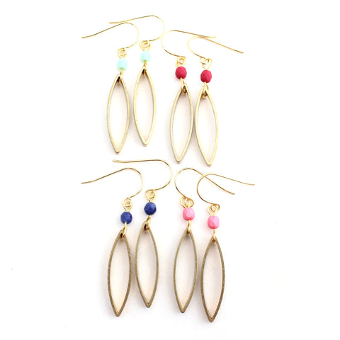 Paolo -- brass ellipse and gem earrings