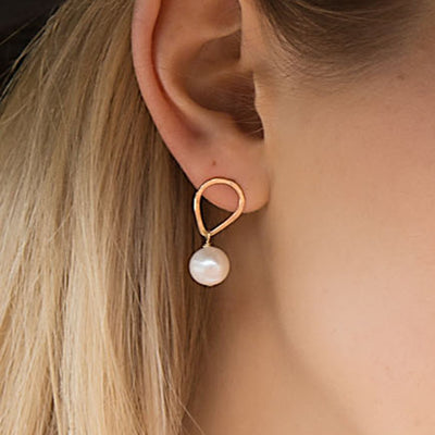 teardrop stud with hanging pearl earrings - gold-filled