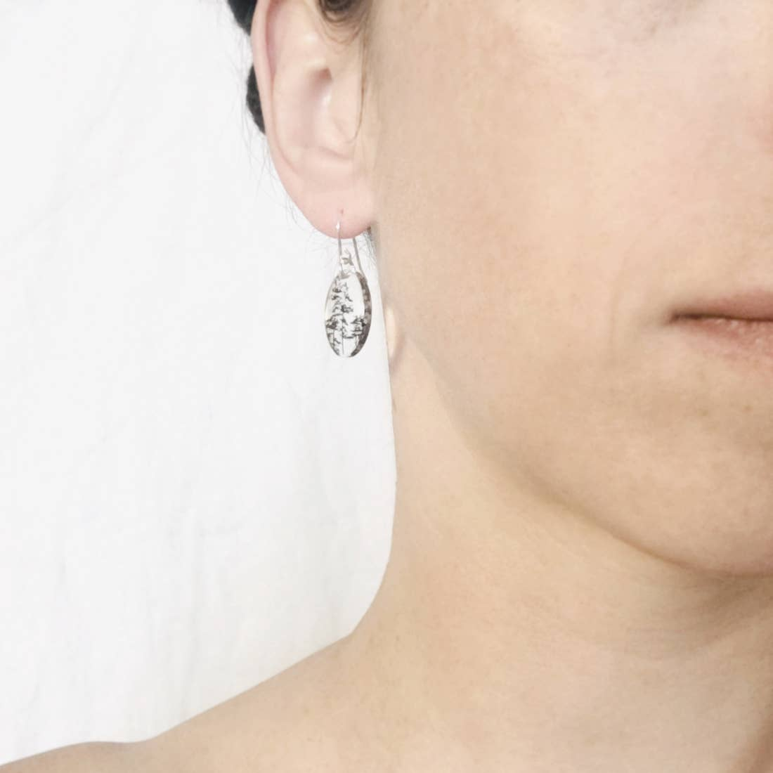 Small Oval Forest Earrings