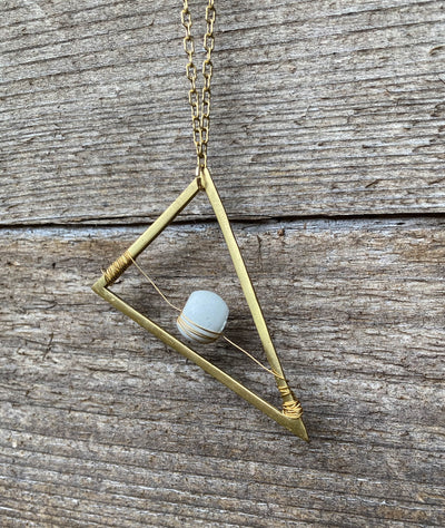 Concrete Suspended Triangle Necklace