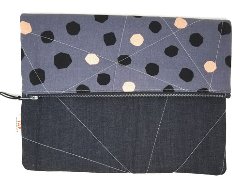 Handmade Quilted iPad/Tablet Clutch - Pewter w/Dots