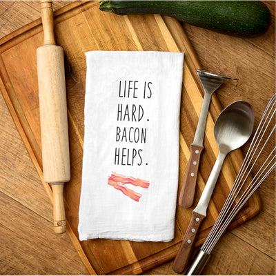Tea Towel - Life is Hard. Bacon Helps.