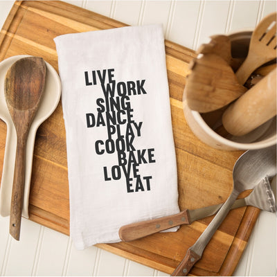 Tea Towel - Live Work Sing