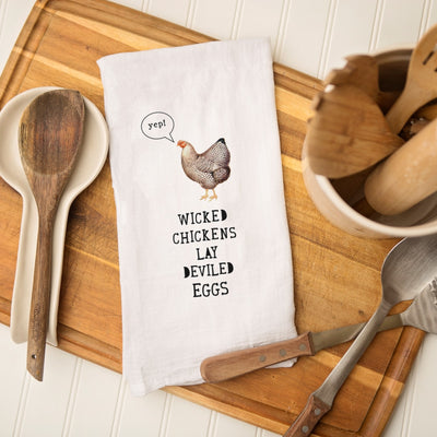 Tea Towel - Wicked Chickens Lay Deviled Eggs