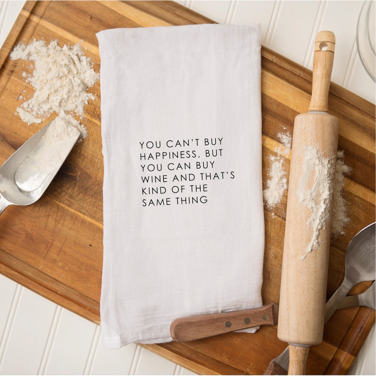 Tea Towel - You Can't Buy Happiness But You Can Buy Wine