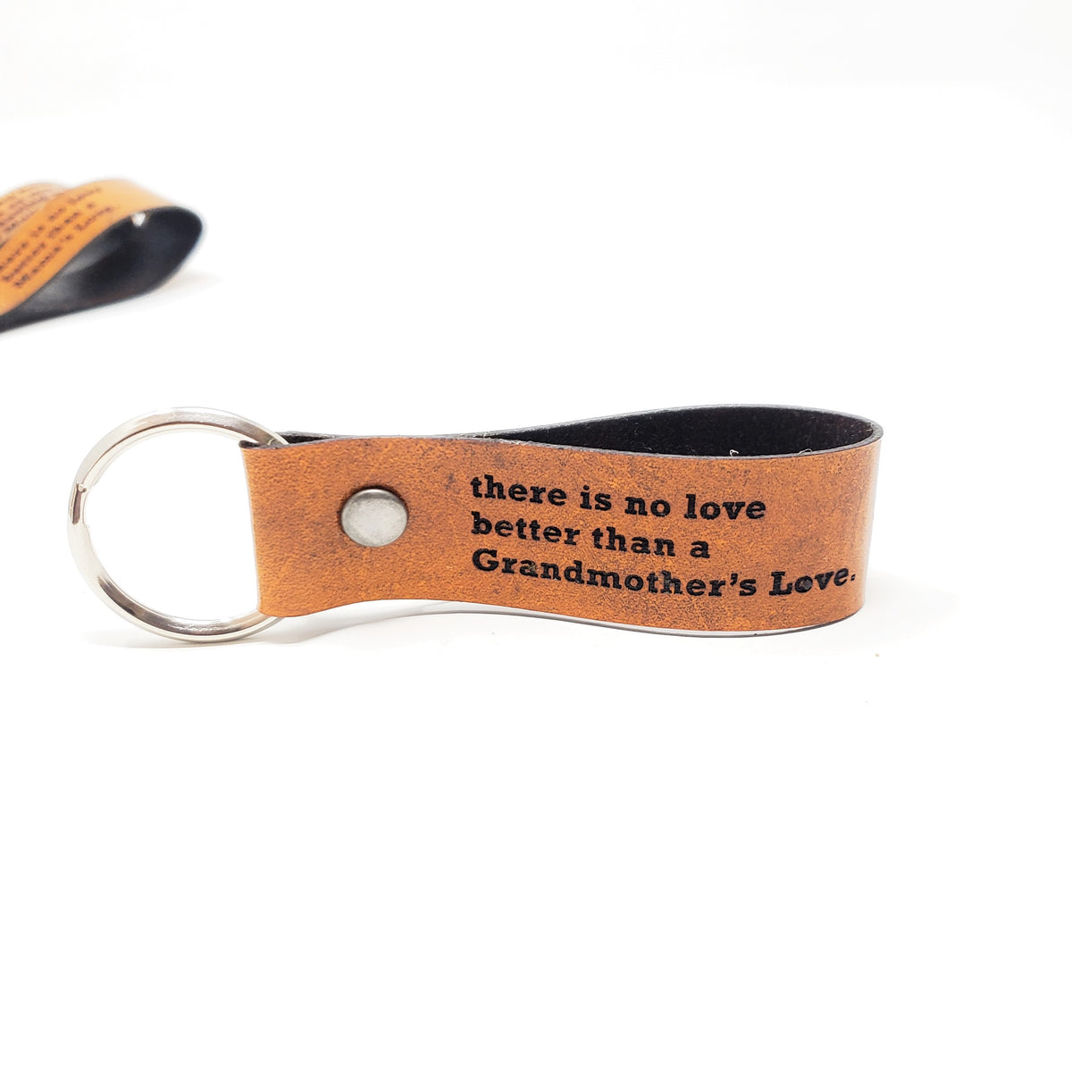 Engraved Leather Keychain - There is No Love Better Than a Grandmother's Love