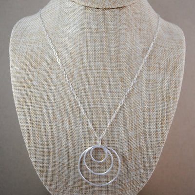 Triple Ring Long Pendant Necklace - Sterling