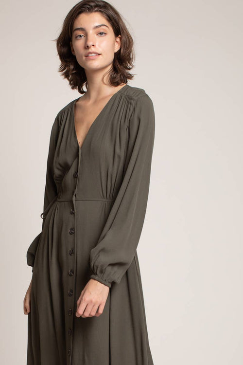 Umber Button Up Tie Dress