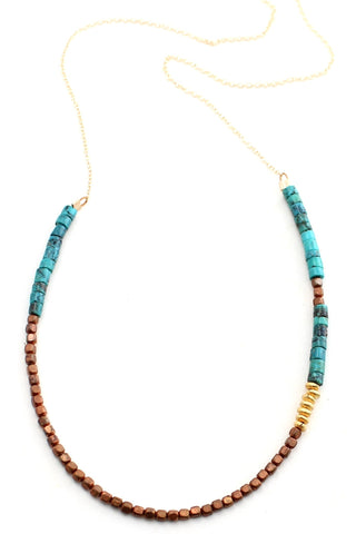 Woods -- turquoise, bronze, and gold beaded necklace
