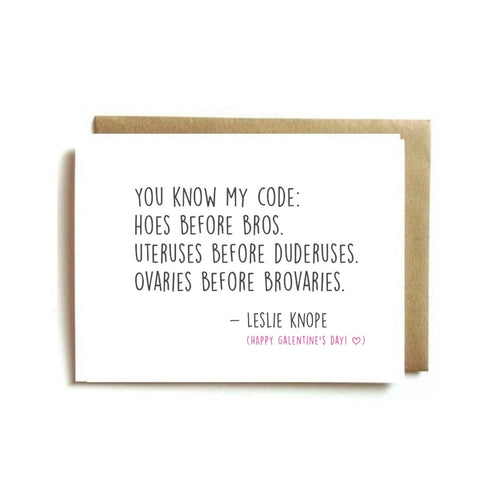 "Galentine's Day Card - Leslie Knope ""You Know My Code"""