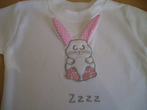 T Shirt with 3D Bunny Applique - TiggiesTinyToes