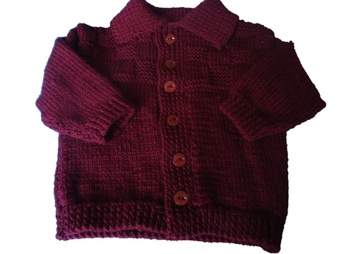 Cardigan - Burgandy Wool - TiggiesTinyToes