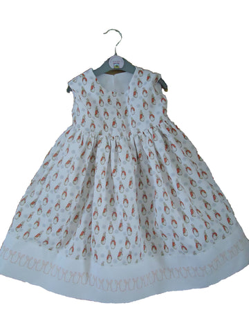 Dress - Embroidered / Rabbit Print