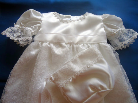 Lace christening robe - TiggiesTinyToes