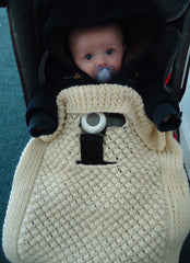 Harness anchored knitted baby blanket in wool - TiggiesTinyToes