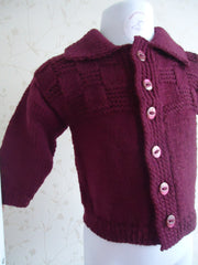 Cardigan in burgandy wool with collar - TiggiesTinyToes