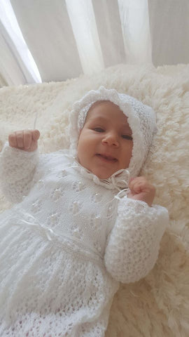Christening Dress and Bonnet-Knitted / beaded - TiggiesTinyToes