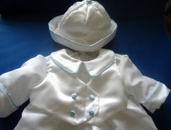 Christening romper set with blue piping