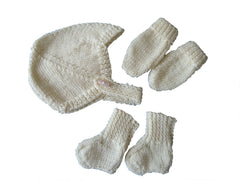 Prem baby helmet style hat, mitts and socks