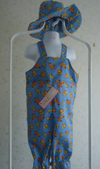 Cotton dungarees and sun hat in zoo animal print - TiggiesTinyToes