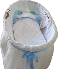 Romantic style moses basket set-blue ribbon - TiggiesTinyToes