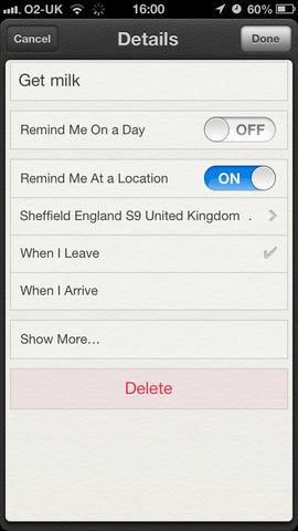 How to set a location based reminder on the iPhone
