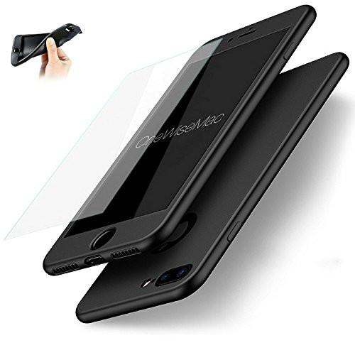360° Silicone Case + Glass [Black] for iPhone 6 / 6s