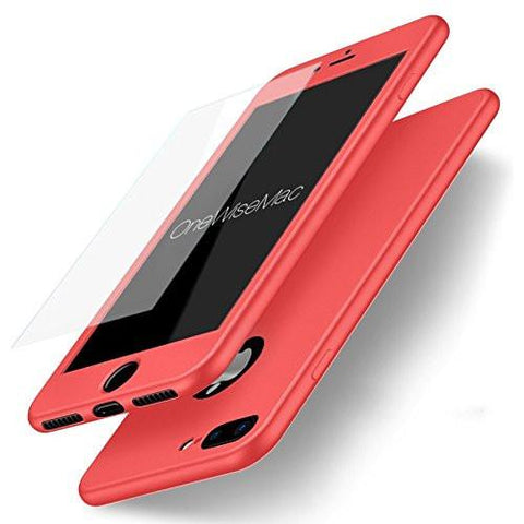 360° Silicone Case + Glass [Peach]