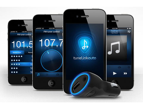 TuneLink Auto™  The universal wireless Bluetooth to FM and direct connect in-car audio solution for iPhone, iPod touch, and iPad