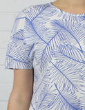 DROP HEM TOP  - BLUE PALM PRINT - Sha-de  - 5