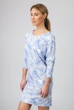 DOLMAN DRESS  - BLUE PALM PRINT - Sha-de  - 2