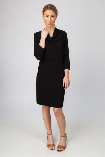DRAPE NECK DRESS-BLACK - Sha-de  - 1
