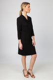 DRAPE NECK DRESS-BLACK - Sha-de  - 2