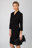 DRAPE NECK DRESS-BLACK - Sha-de  - 3