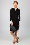 DRAPE NECK DRESS-BLACK - Sha-de  - 4
