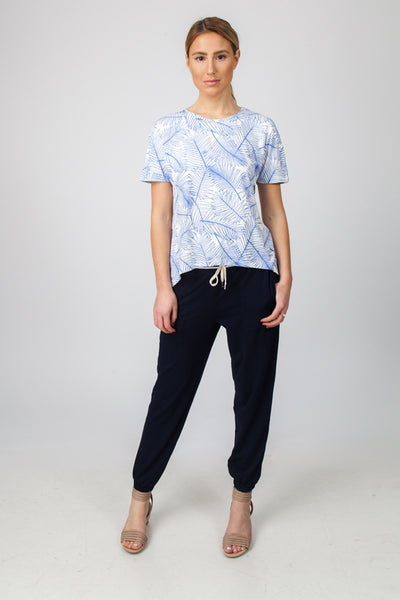 DROP HEM TOP  - BLUE PALM PRINT - Sha-de  - 1